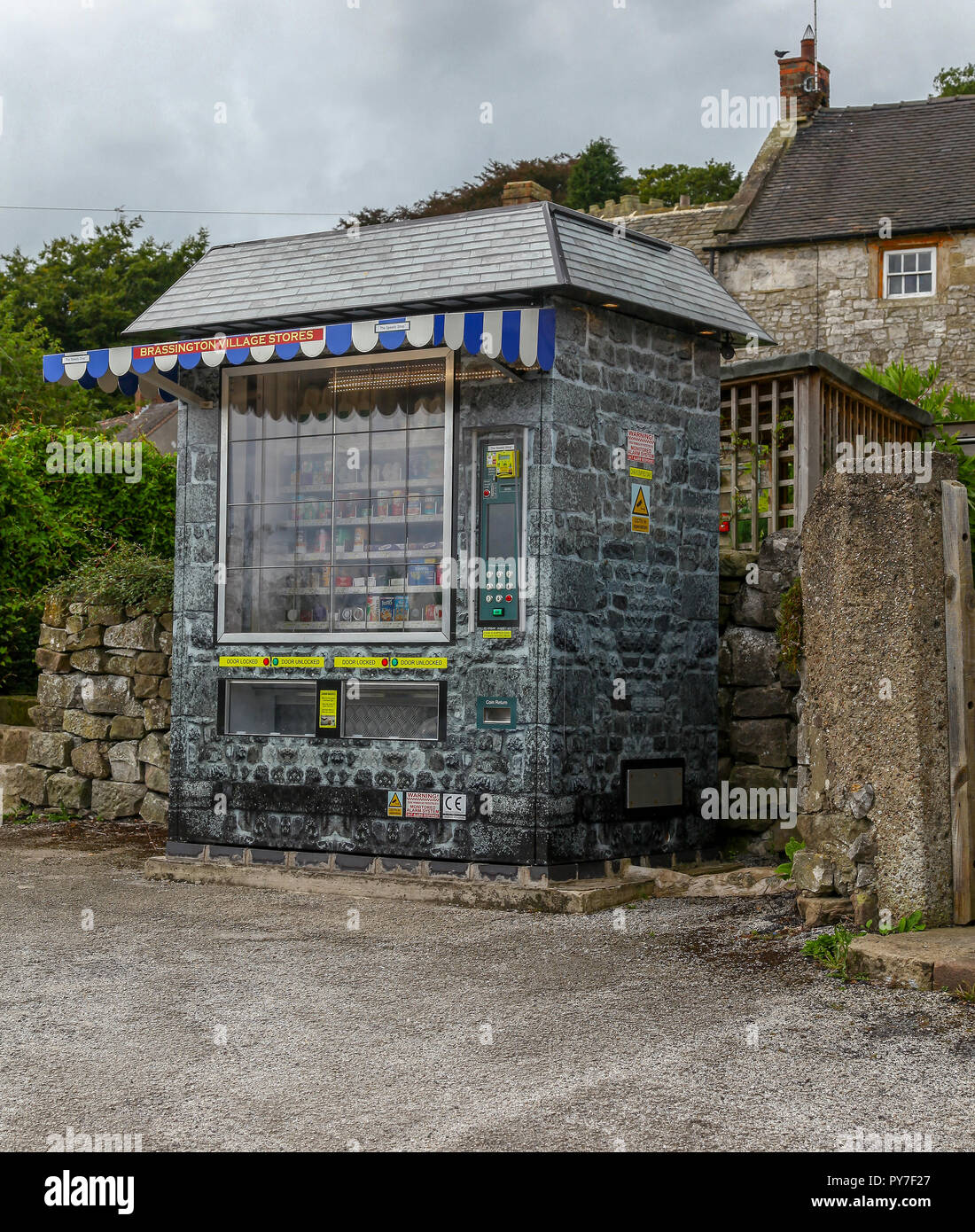 An automated village shop, 'speedy shop', in the rural village of Brassington, Derbyshire, England, UK - Stock Image