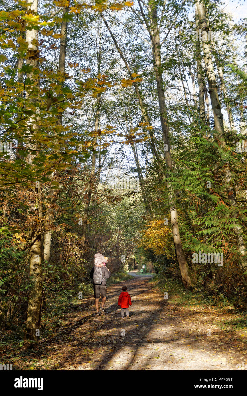 Father and young children walking along a trail in  Pacific Spirit Regional Park and nature preserve, Vancouver, BC, Canada - Stock Image