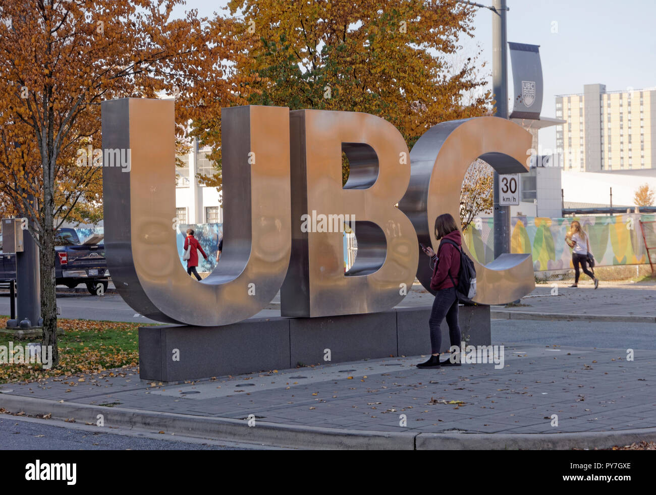 Giant UBC lettering sign  on the campus of the University of British Columbia, Vancouver, BC, Canada - Stock Image