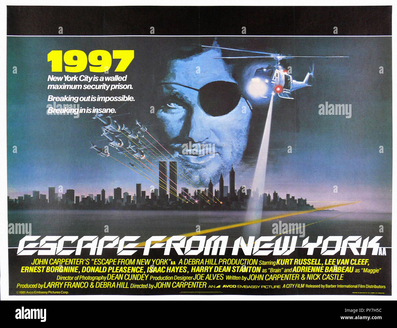 Escape From New York Poster.Escape From New York Original Movie Poster Stock Photo 223287272