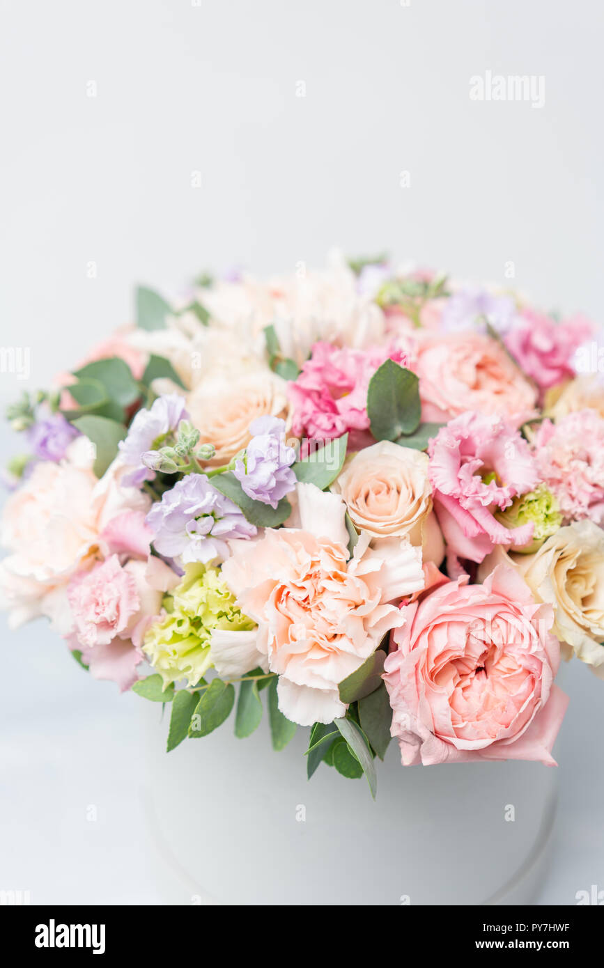 Beautiful Spring Bouquet In Round Box Arrangement With Various Flowers The Concept Of A Flower Shop A Set Of Photos For A Site Or Catalogue Work Florist Stock Photo Alamy