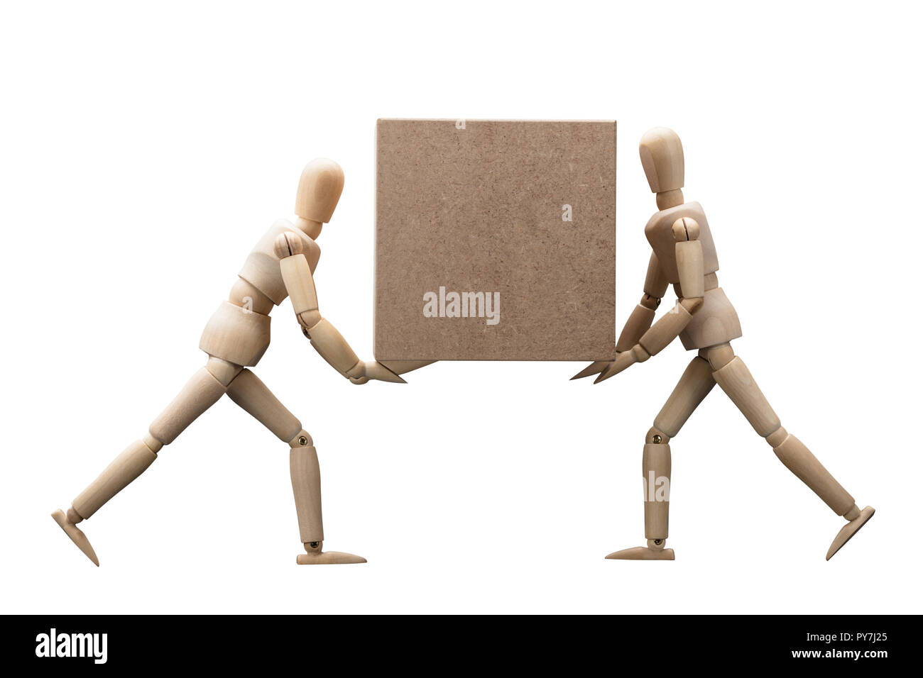 Wooden Dummy Carrying Cardboard Box Isolated On White Background Stock Photo
