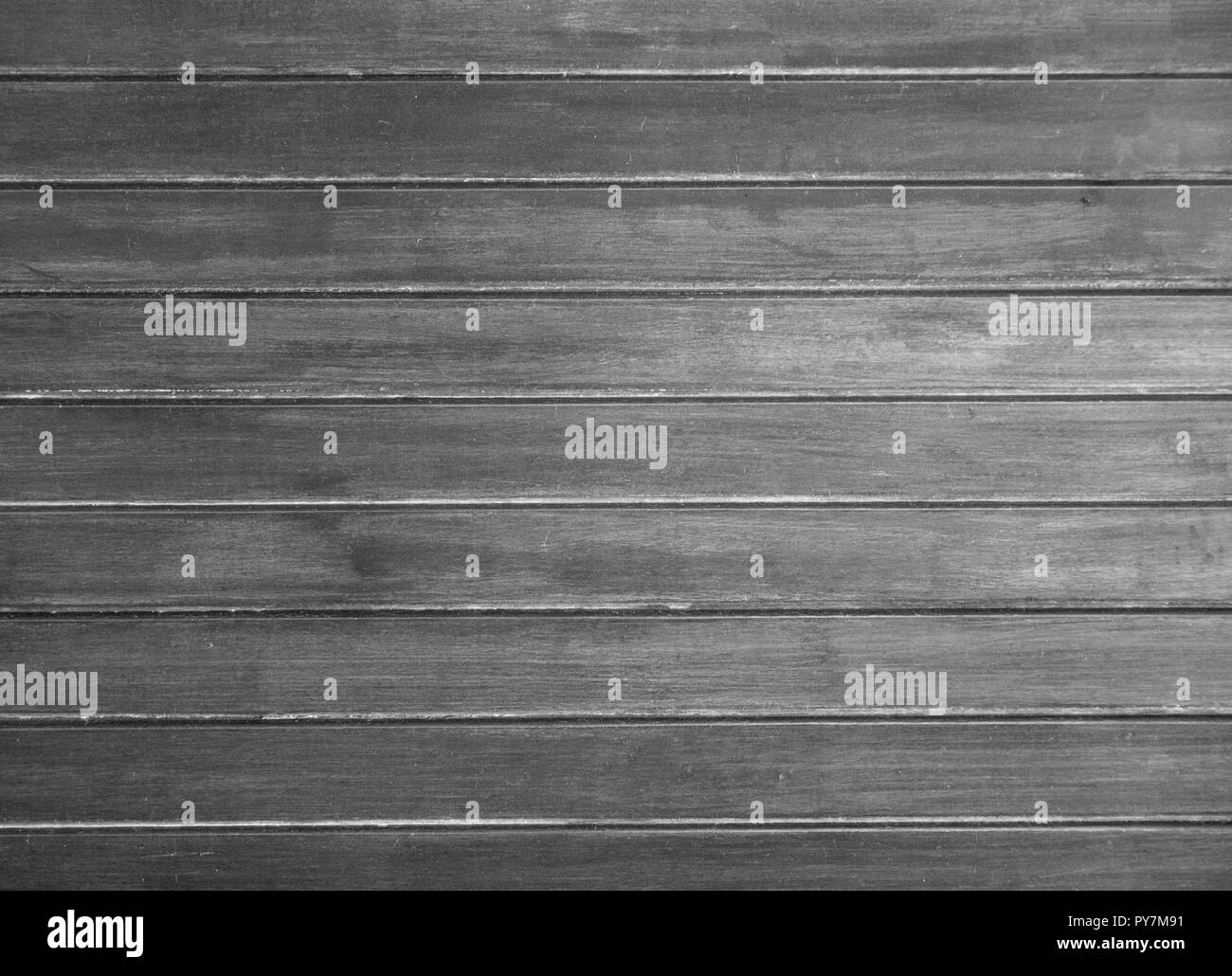Wooden wall with horizontal planks. Close up of an old wooden fence panels - Stock Image