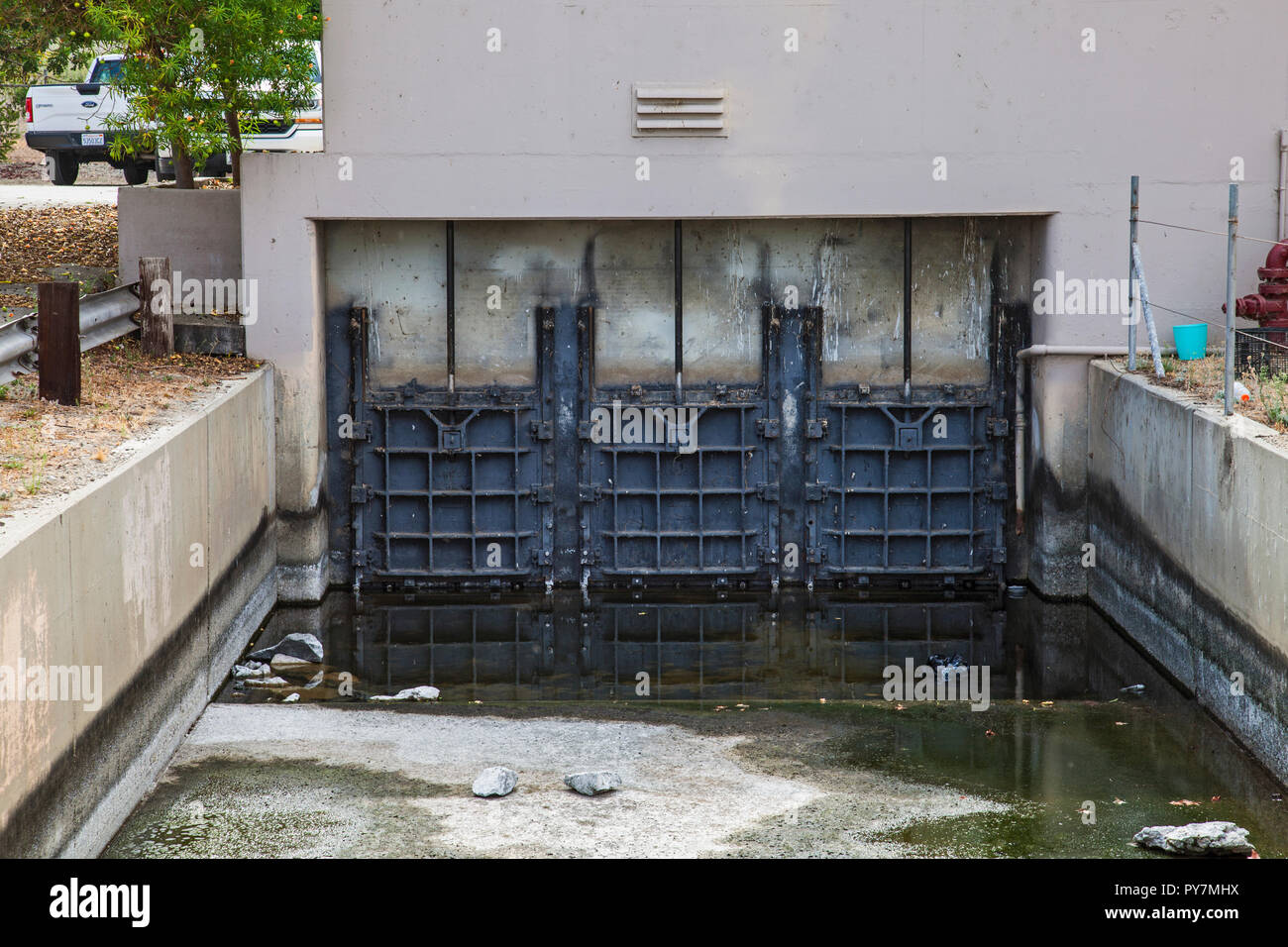 These gates allow either stormwater or tertiary-treated recycled water to enter the spreading grounds for groundwater recharge purposes. San Gabriel S - Stock Image