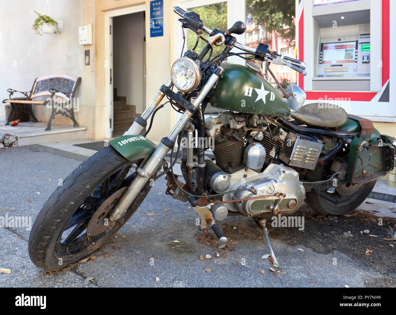Old US military motorcycle in Moscenicka Draga, Istria, Croatia - Stock Image