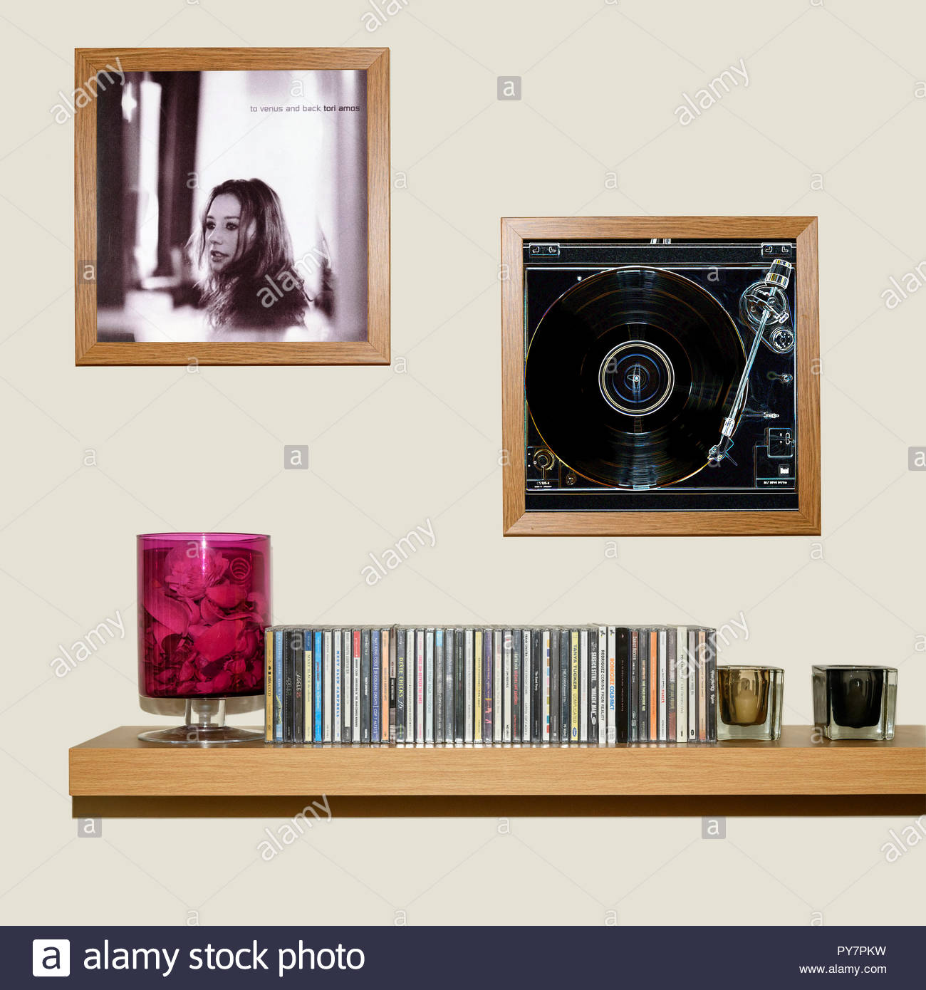 CD Collection and framed Tori Amos 1999 album, To Venus and Back, England Stock Photo