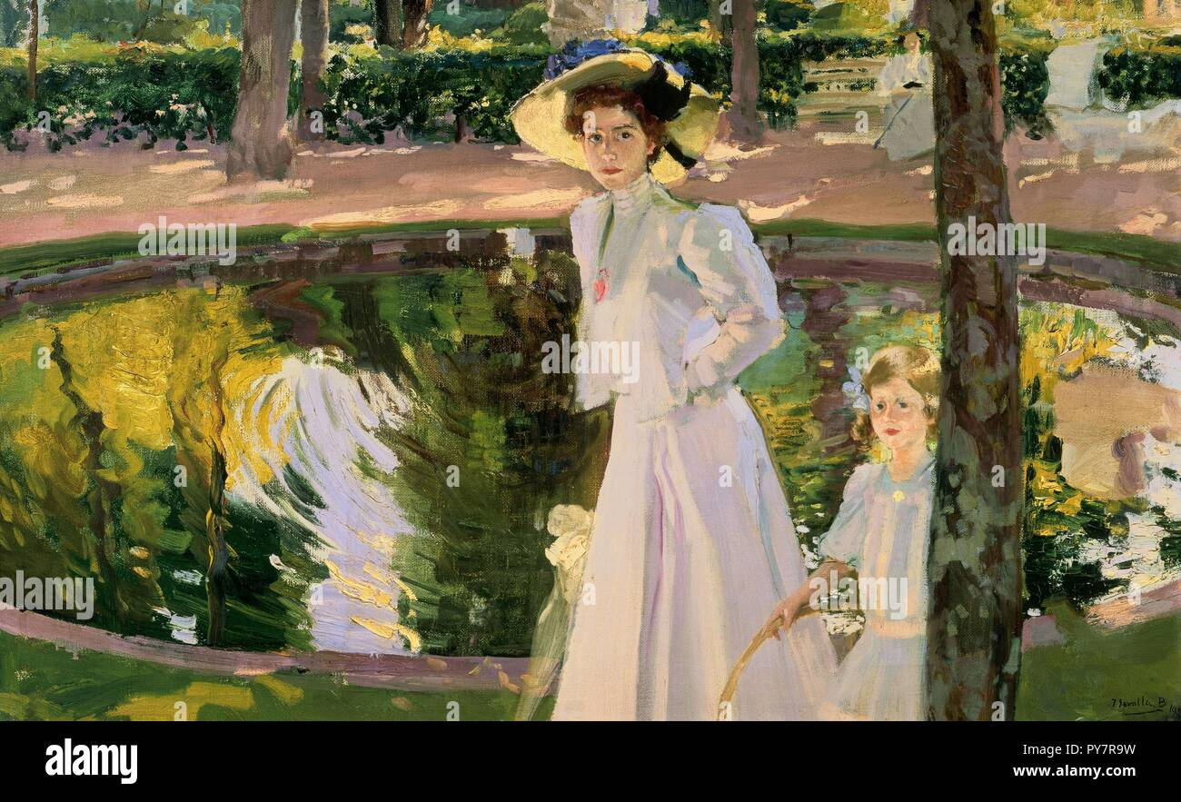 Museo Sorolla Madrid.Marian In The Gardens La Granja 1907 Oil On Canvas Author