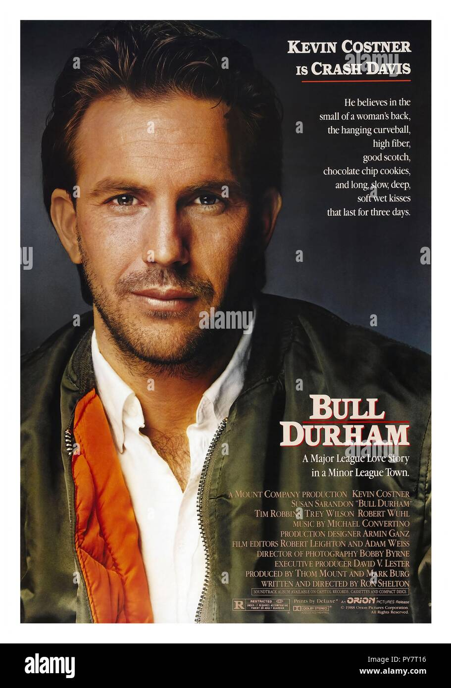 Original film title: BULL DURHAM. English title: BULL DURHAM. Year: 1988. Director: RON SHELTON. Stars: KEVIN COSTNER. Credit: ORION PICTURES / Album - Stock Image
