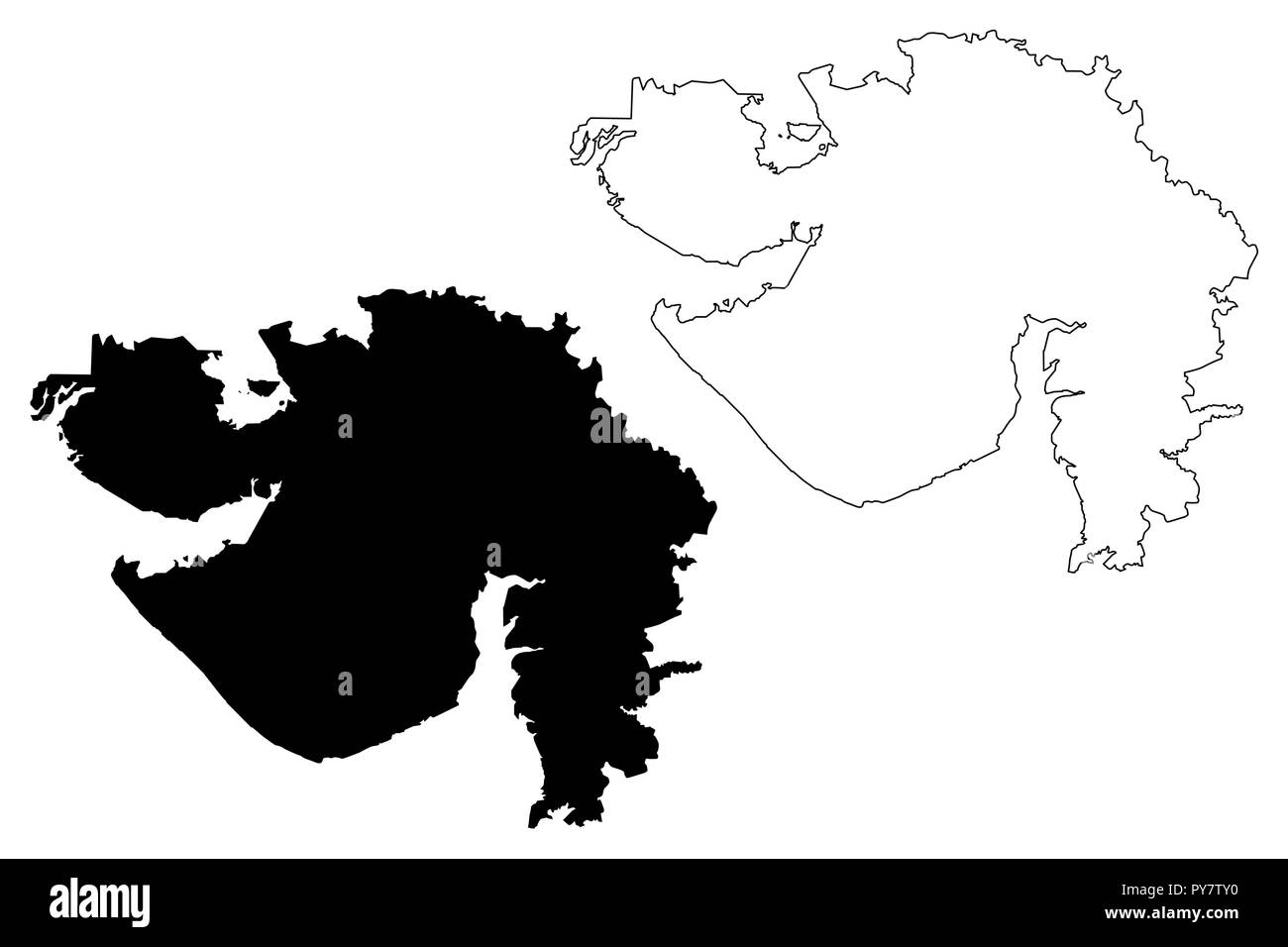 Gujarat (States and union territories of India, Federated states, Republic of India) map vector illustration, scribble sketch Gujarat state map - Stock Vector