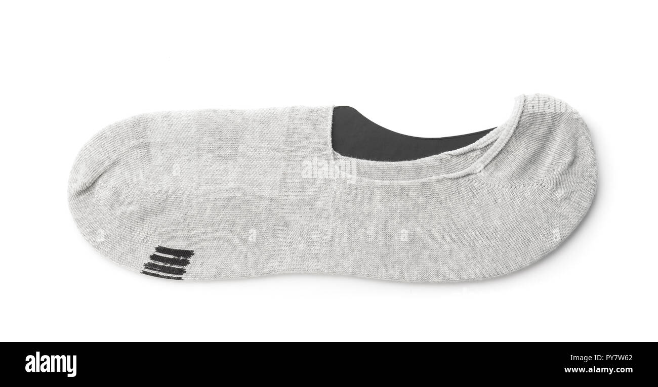 Men's gray invisible socks isolated on white - Stock Image