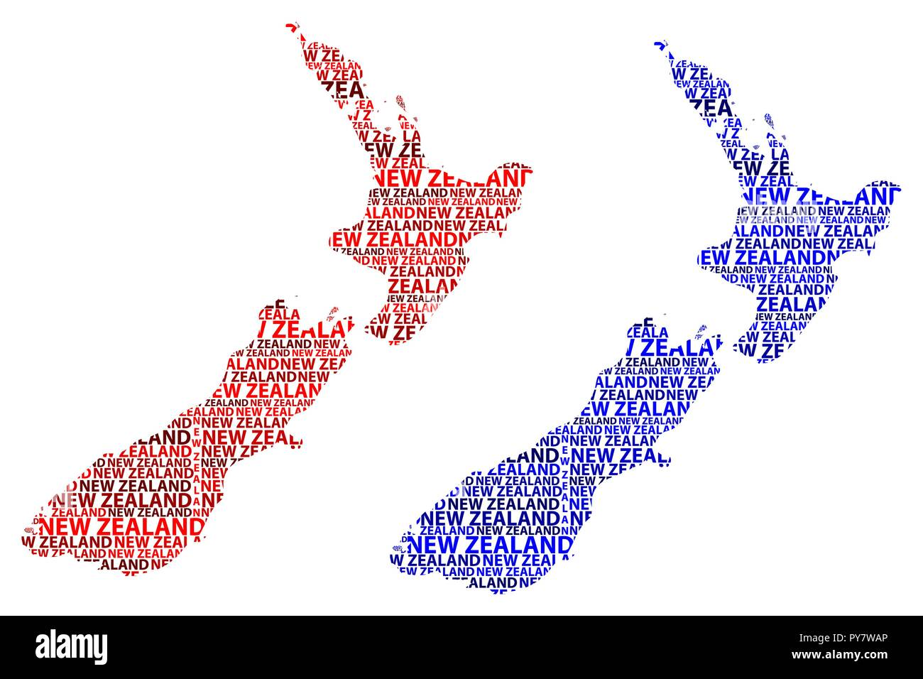 Sketch New Zealand letter text map, New Zealand - in the shape of the continent, Map New Zealand - red and blue vector illustration - Stock Image