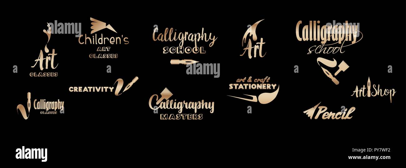Art classes golden lettering logo design set. Calligraphy school and masters with bronze hand fonts. Gold metal logo collection on black background. Art and creativity logotypes. Isolated vector - Stock Vector