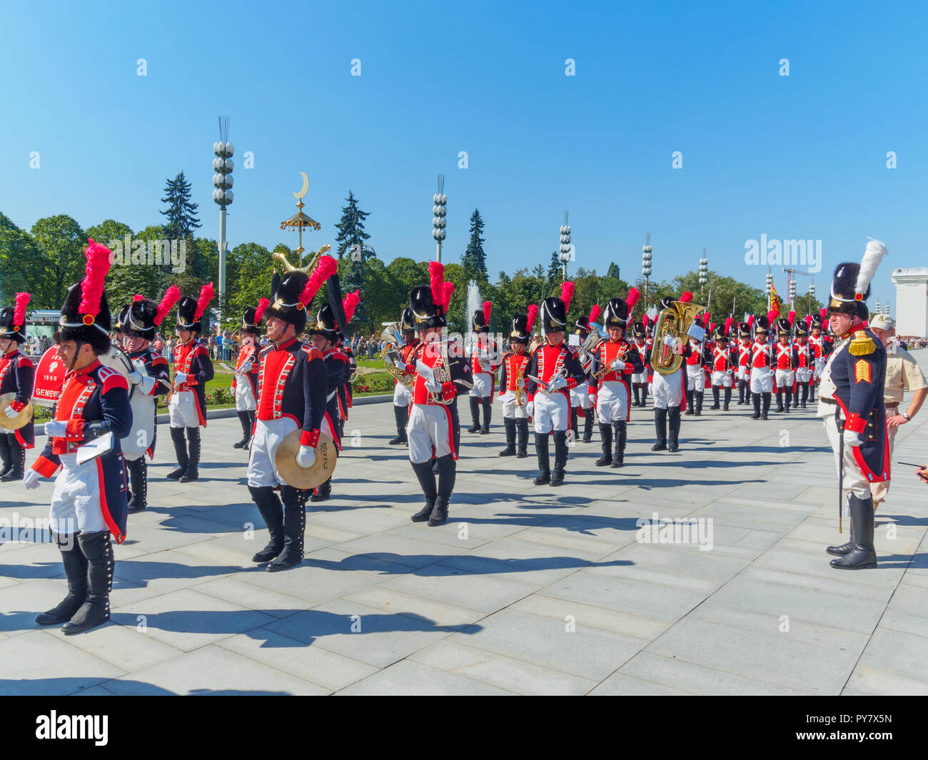 MOSCOW, RUSSIA - AUGUST 25, 2018: The festive procession of the Spasskaya Tower International Military Music Festival participants at VDNKH. Stock Photo