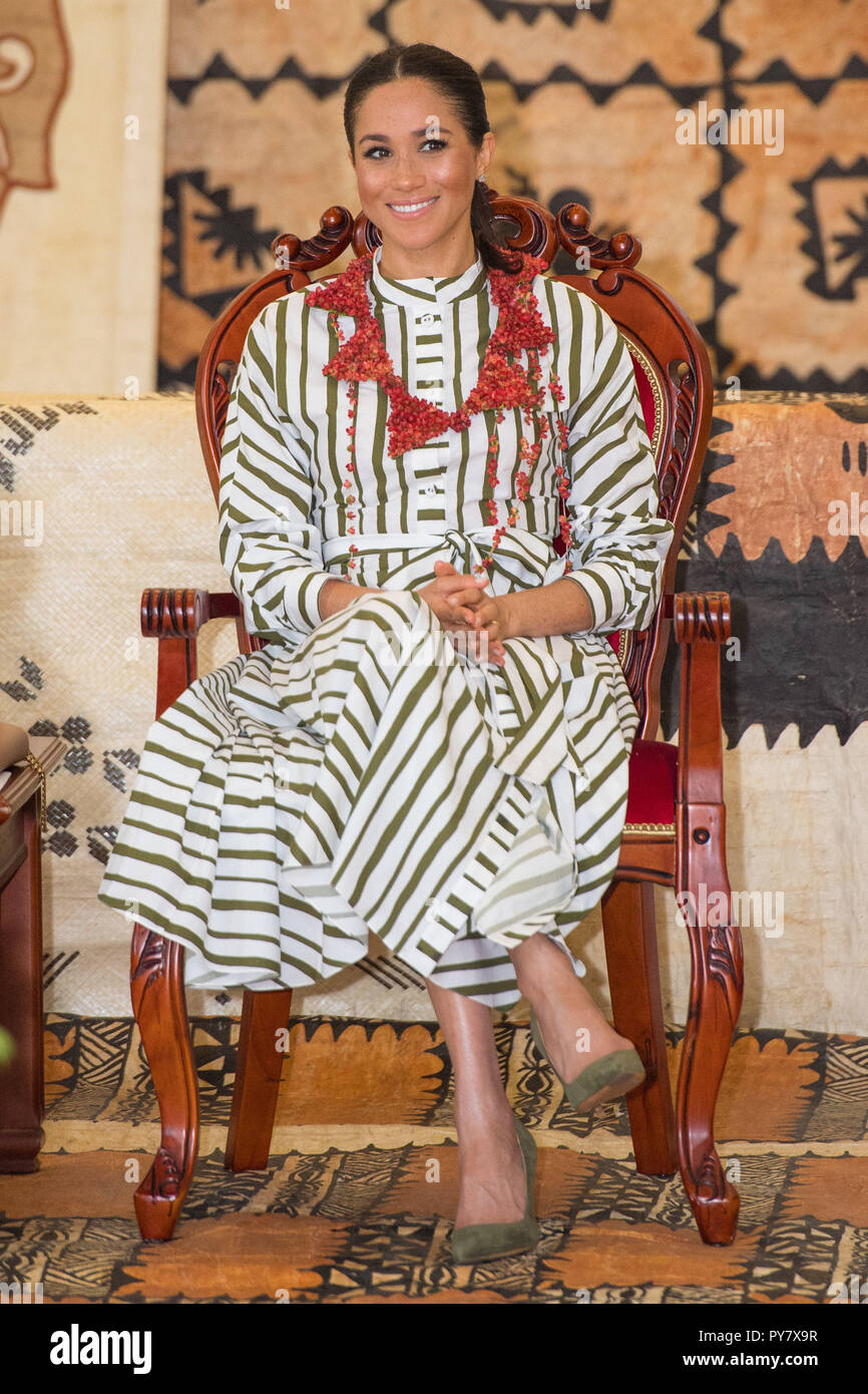 The Duchess Of Sussex Attends An Exhibition Of Tongan Handicrafts At