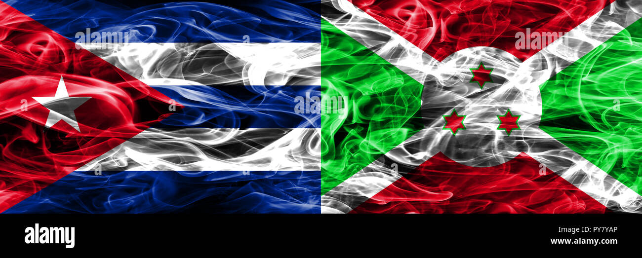 Cuba, Cuban vs Burundi, Burundian smoke flags placed side by side. Concept and idea flags mix Stock Photo