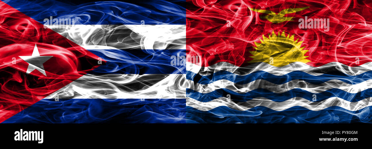 Cuba, Cuban vs Kiribati smoke flags placed side by side. Concept and idea flags mix - Stock Image