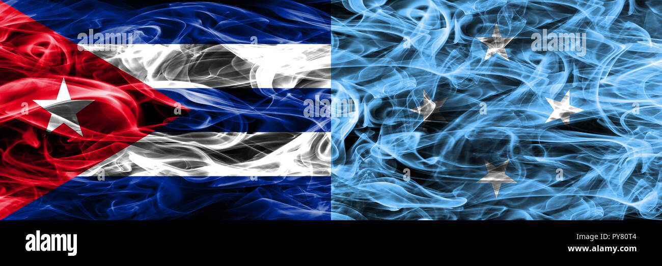 Cuba, Cuban vs Micronesia, Micronesian smoke flags placed side by side. Concept and idea flags mix - Stock Image