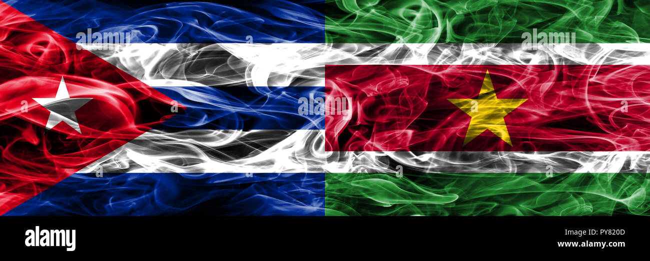 Cuba, Cuban vs Suriname, Surinamese smoke flags placed side by side. Concept and idea flags mix - Stock Image