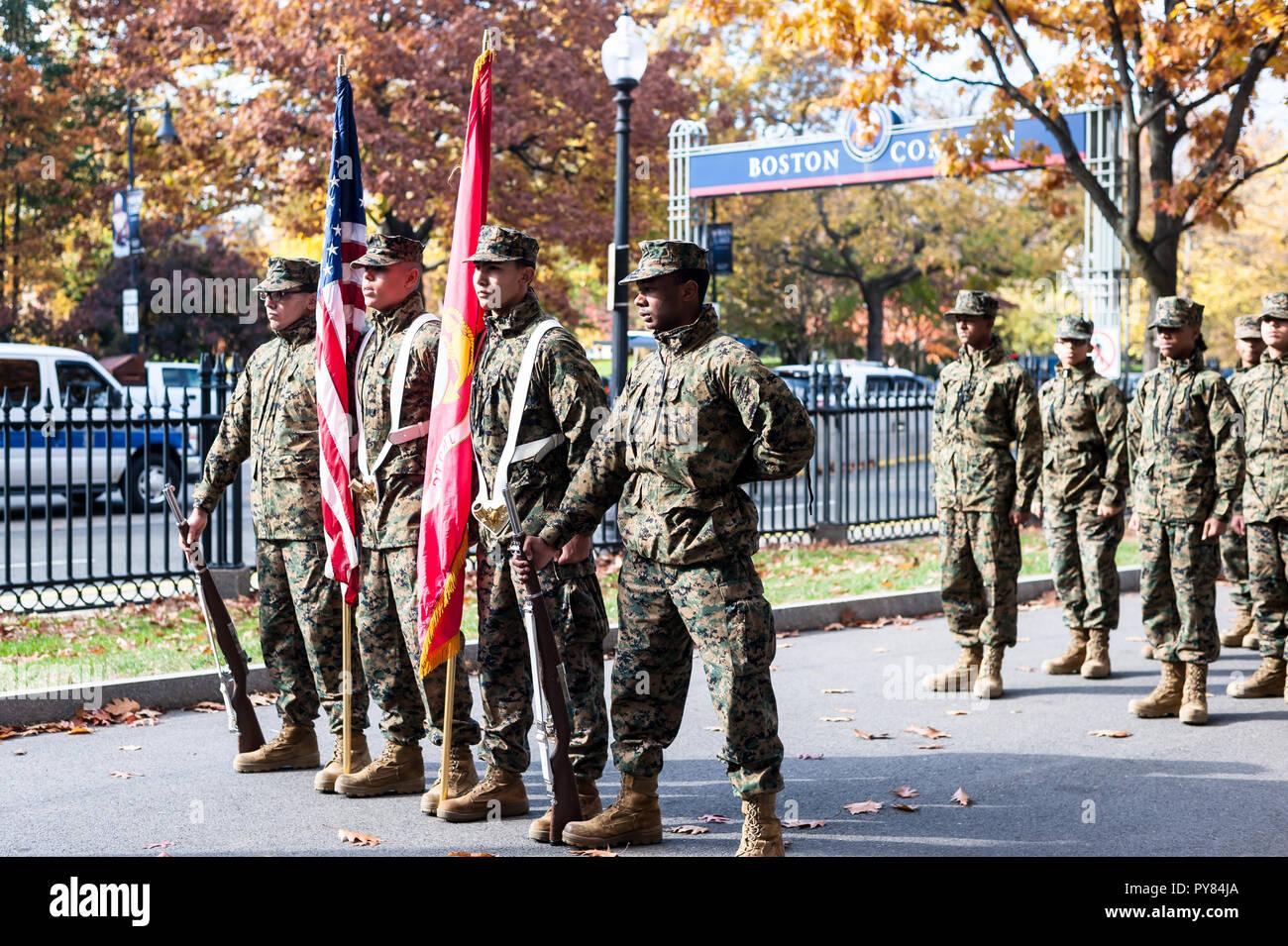 2015 Boston Veterans Day Parade at the Boston Public Garden - Stock Image