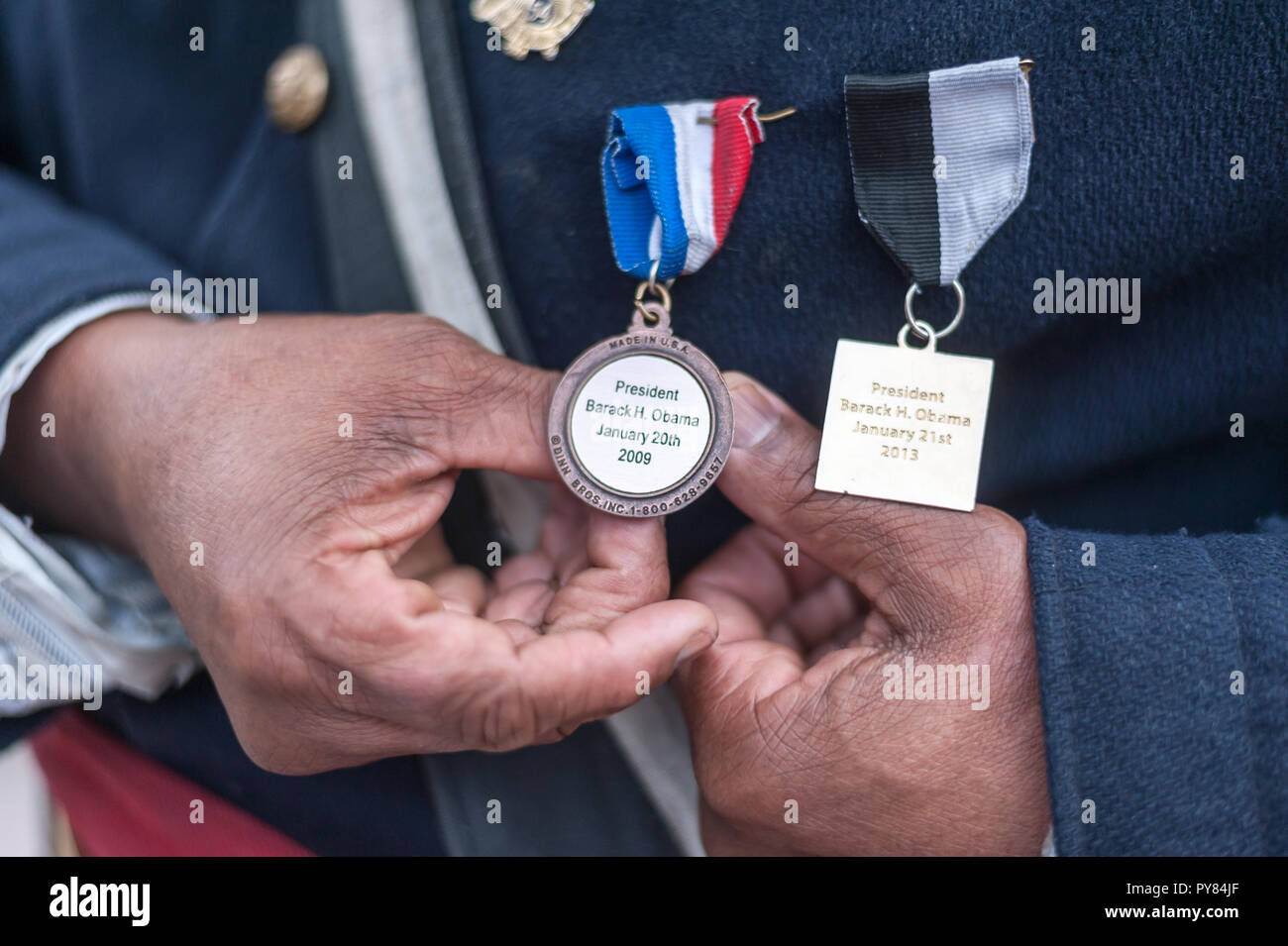 A reenactor at the Boston Veterans' Parade, representing the 54th Massachusetts Regiment, an all-black infantry regiment organized in Massachusetts. - Stock Image