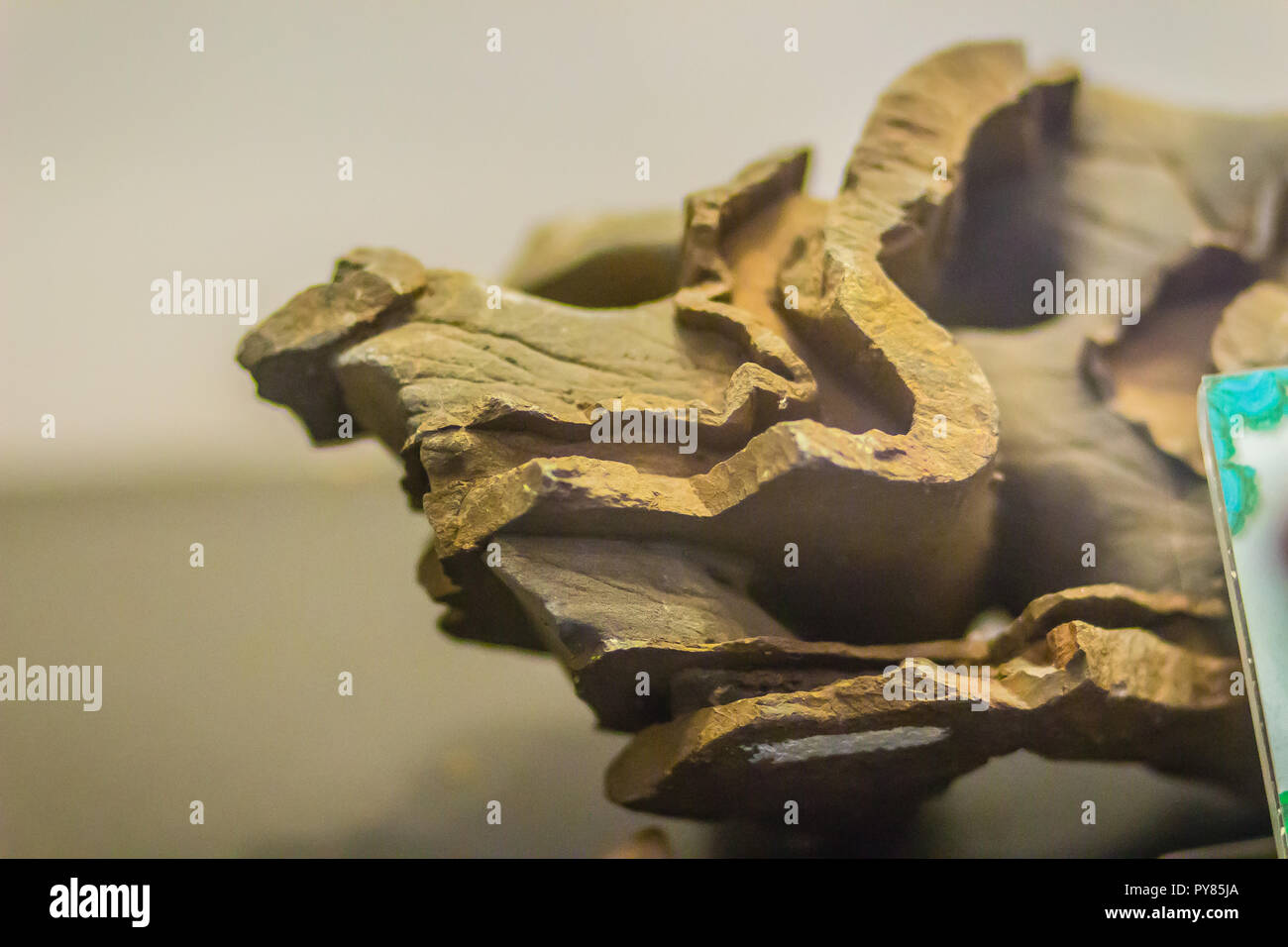 Folded rock from mining for education. Folds in rocks vary in size from microscopic crinkles to mountain-sized folds and occur singly as isolated fold - Stock Image