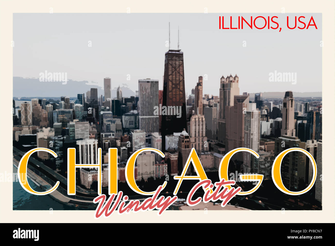 Chicago Travel Poster - Stock Image