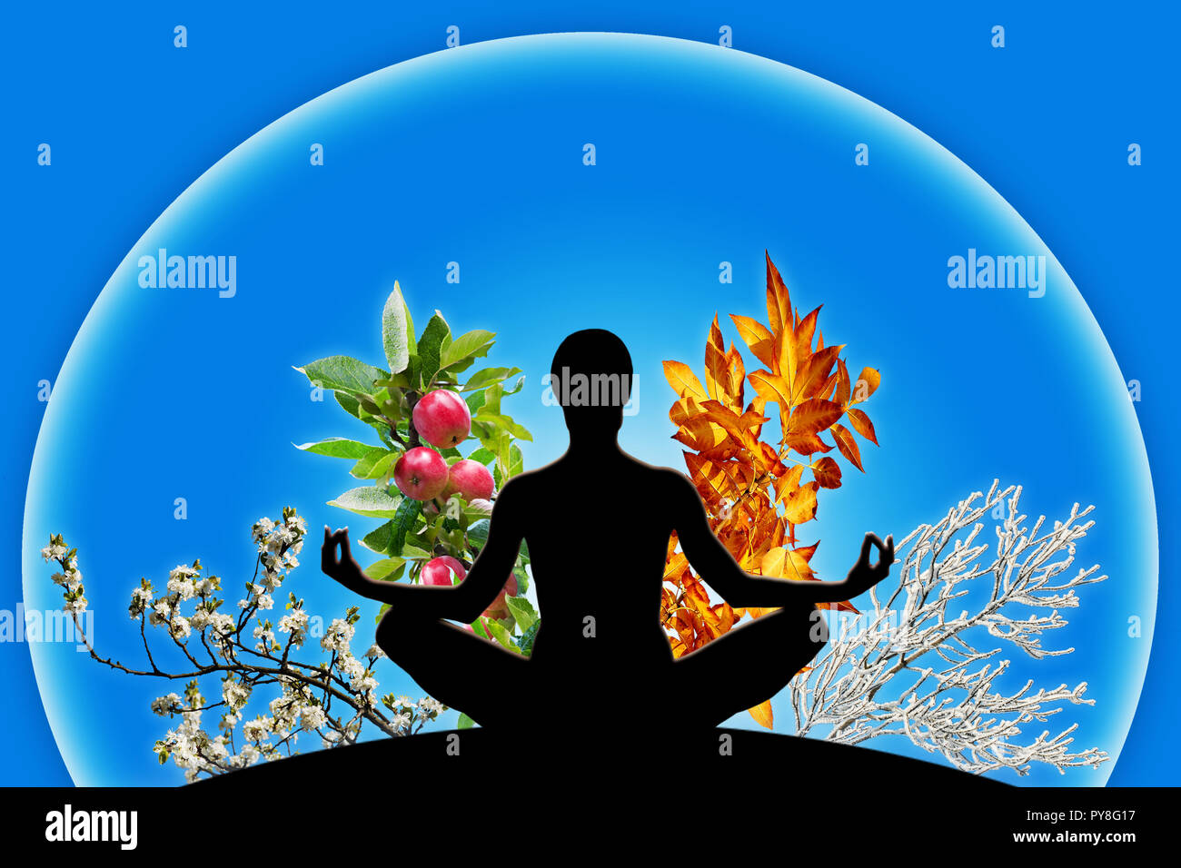 Female yoga figure in a sphere with 4 different branches, representing 4 seasons of the year (spring, summer, autumn, winter). Concept of passing time - Stock Image