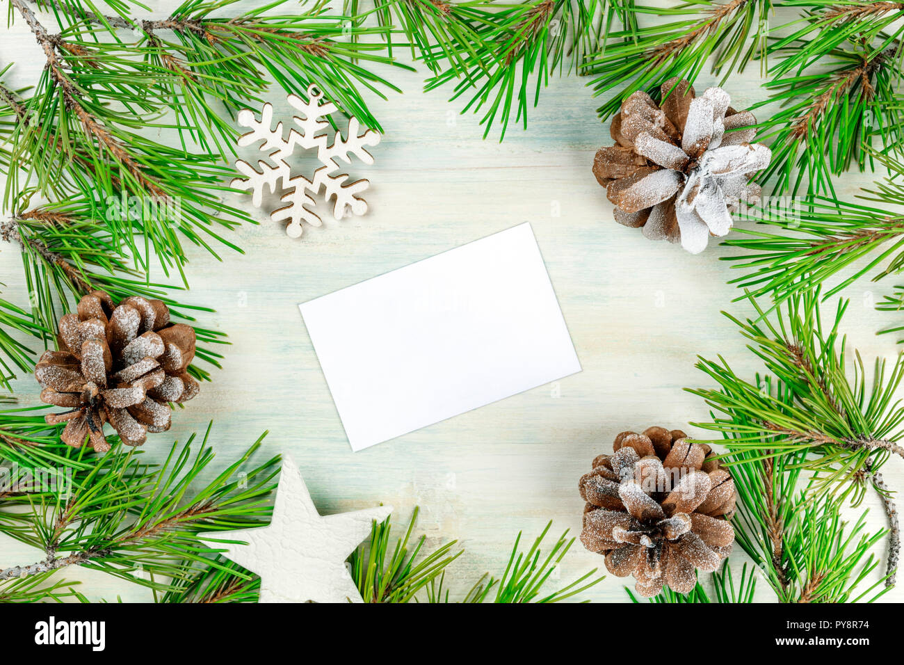Christmas Business Decorations.Christmas Background With Fir Tree Branches Cones Snow