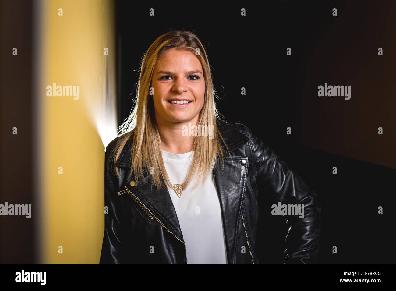 Lyon (south-eastern France). 2017/12/07. Olympique Lyonnais Feminin, French women's football club based in Lyon. Eugenie Le Sommer, French professiona - Stock Image