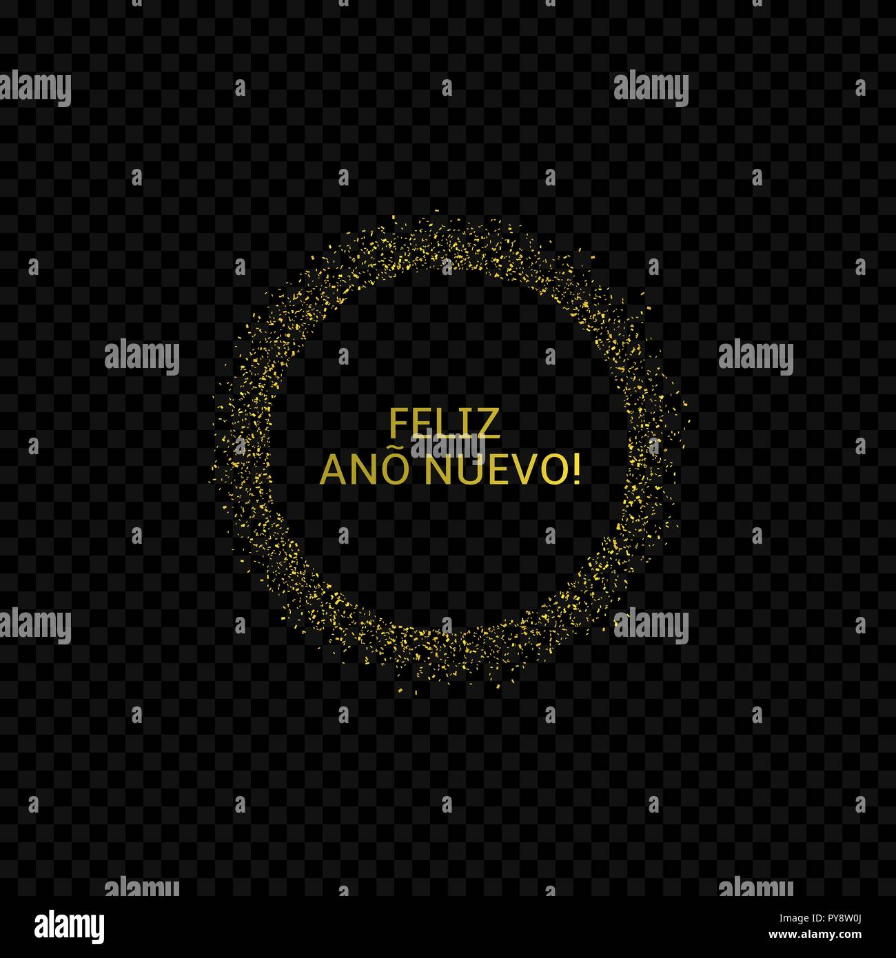Spanish New Year label. Feliz Ano Nuevo, Golden confetti label - Stock Image
