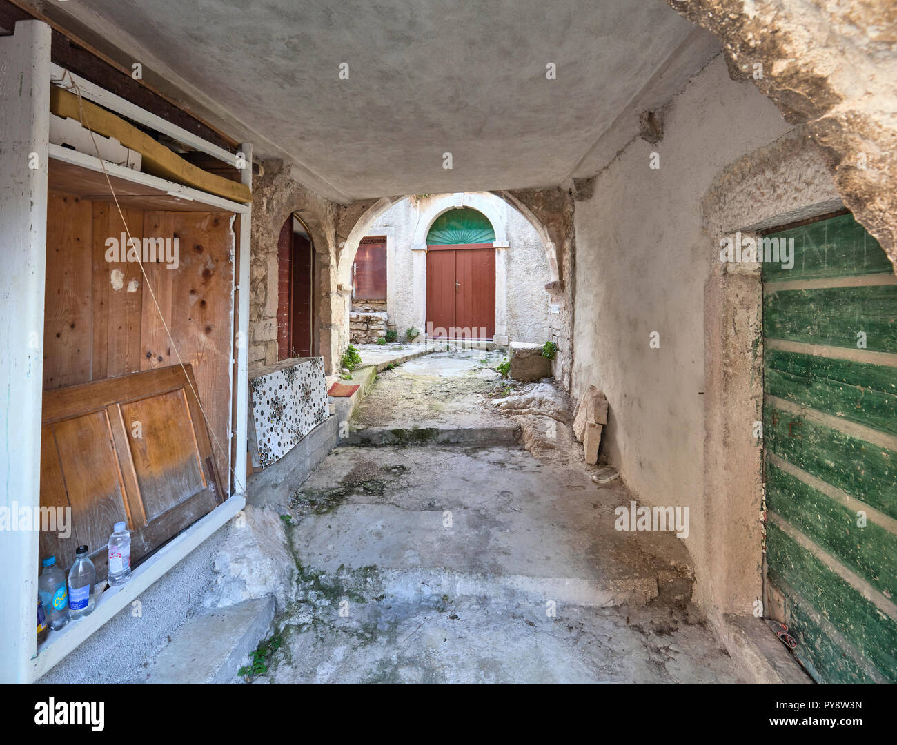 Inside the old roman-style village of Plomin in Istria, Croatia - Stock Image