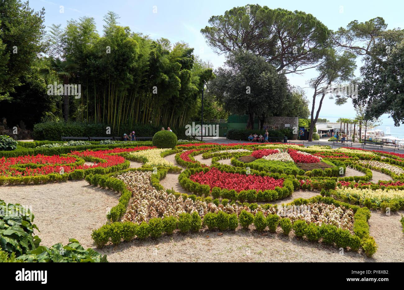 Garden in front of Croatian Museum of Tourism in Opatija, Istria, Croatia Stock Photo