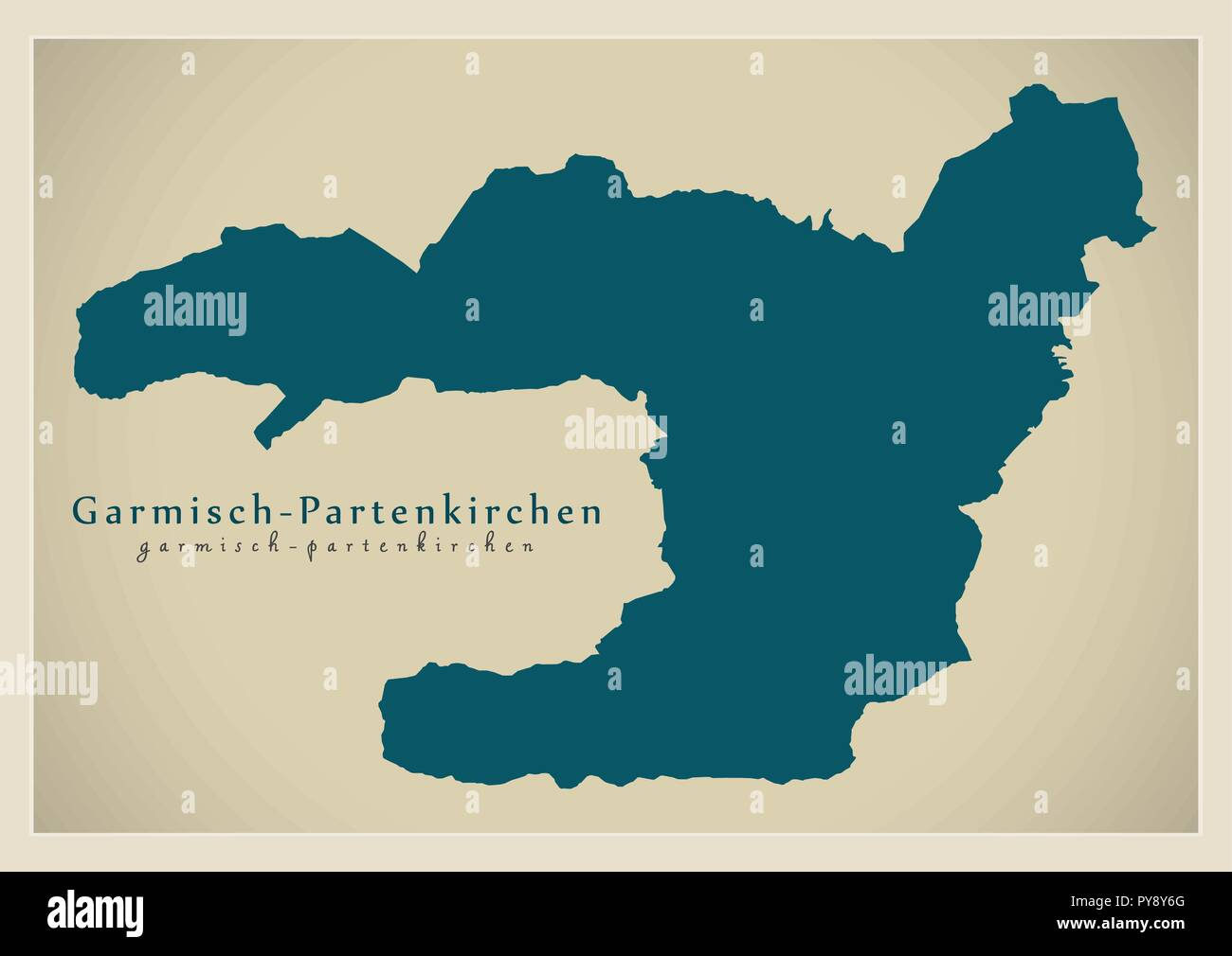 Garmisch Partenkirchen Administration Area Map Germany Stock Vector