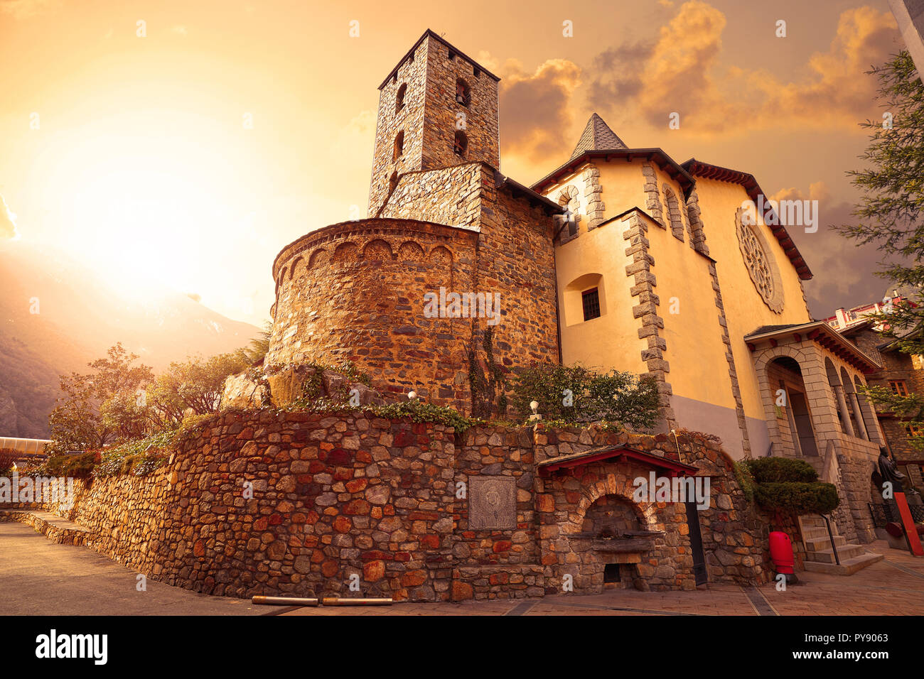 Sant Esteve church in Andorra la Vella at Pyrenees Stock Photo