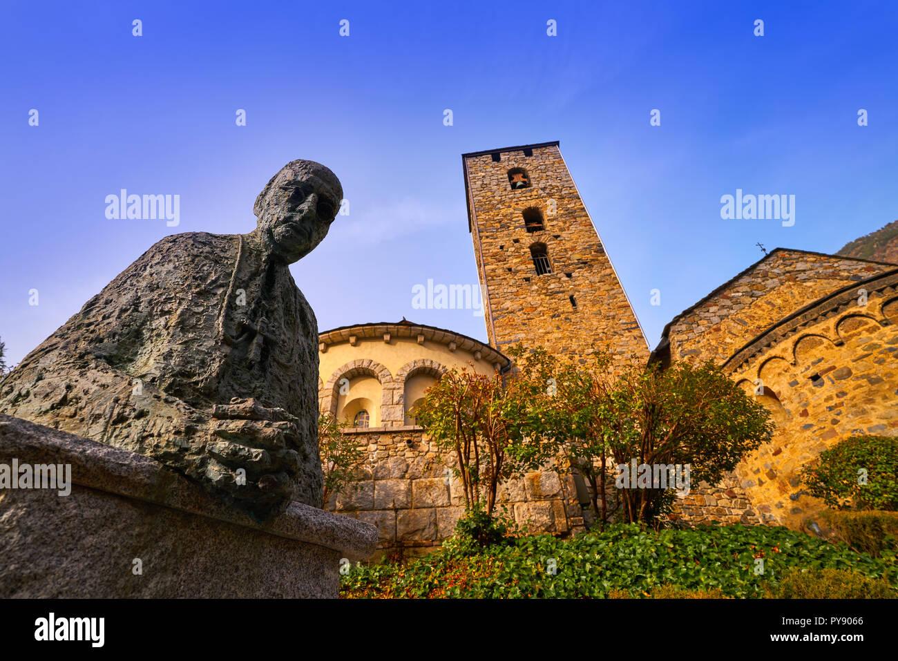 Sant Esteve church in Andorra la Vella at Pyrenees Stock Photo