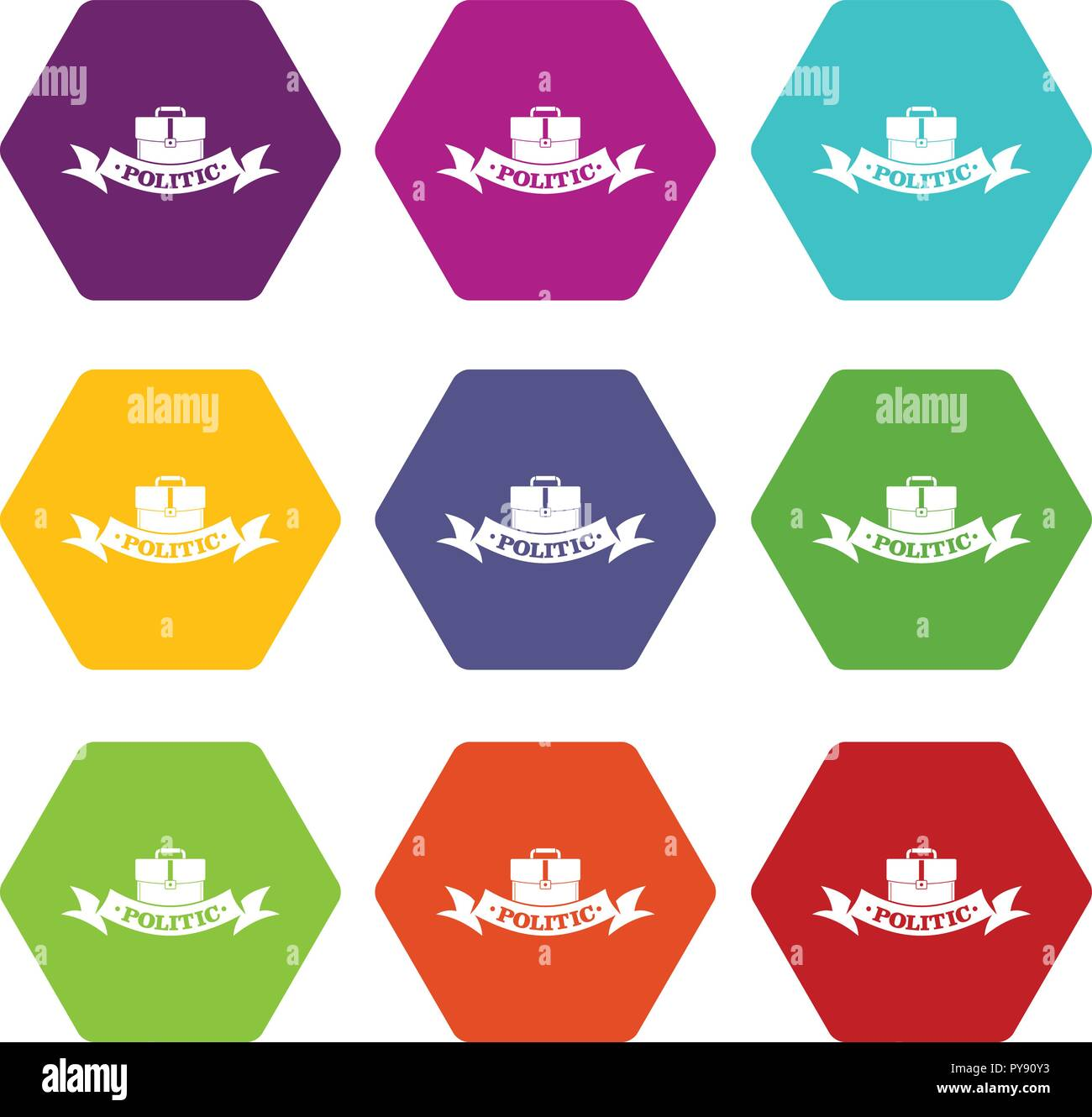 Politic icons set 9 vector - Stock Image