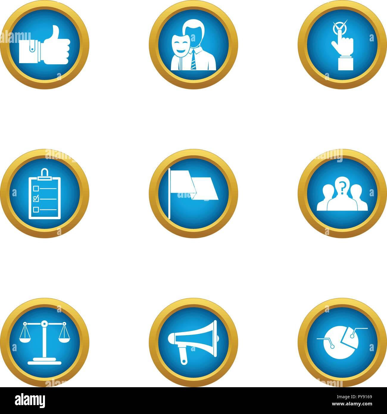 Hypocrite icons set, flat style - Stock Image