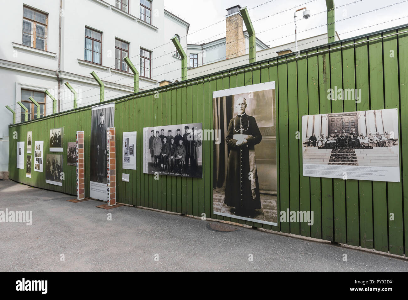Vilnius Museum of Genocide Victims,display in the former prison yard of the museum building showing Lithuanian clergy exiled to Siberia by the Soviets - Stock Image