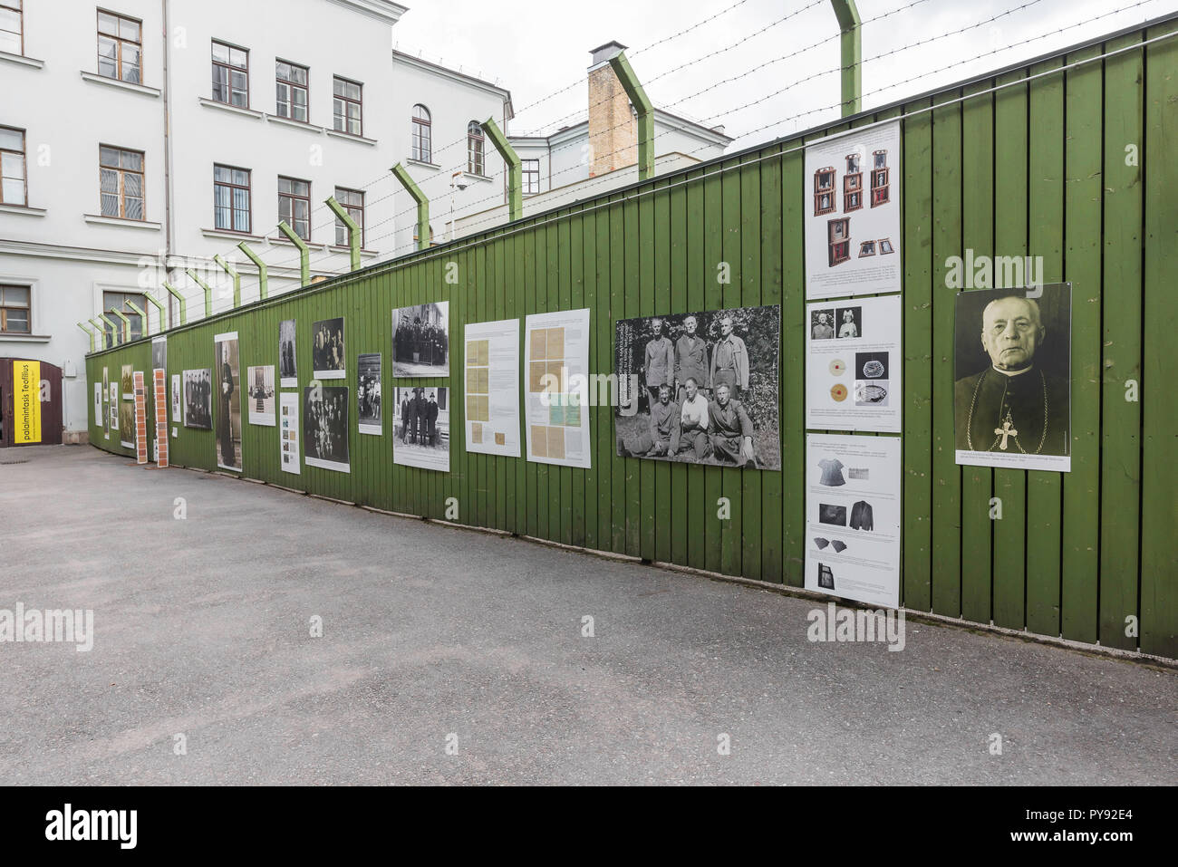 Genocide museum Vilnius,display in the former prison yard of the Museum of Genocide Victims showing Lithuanian clergy exiled to Siberia by the Soviets. - Stock Image