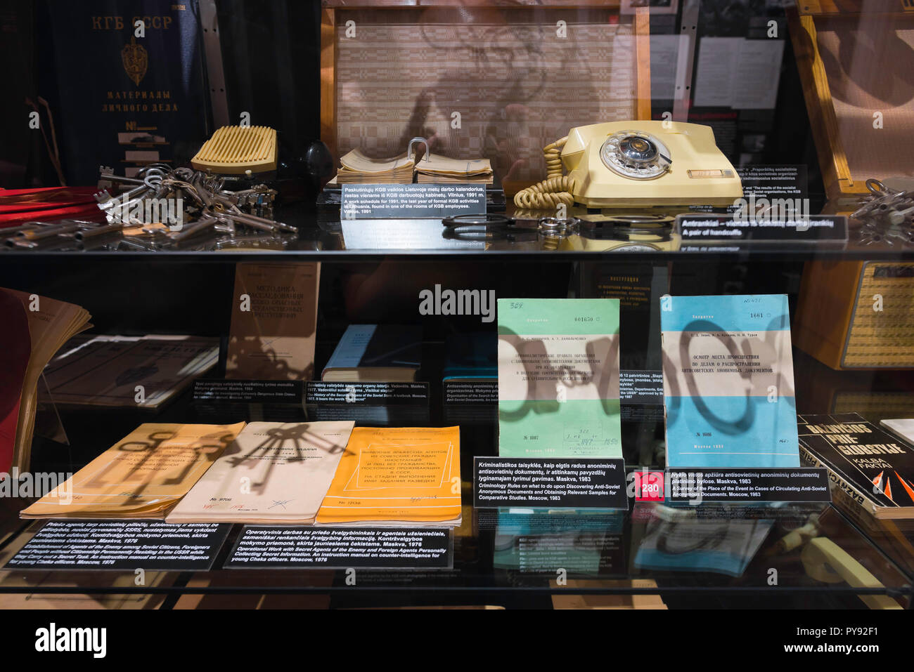 Vilnius Museum of Genocide Victims, view of a display in the museum showing Soviet surveillance equipment and artifacts, Lithuania. - Stock Image
