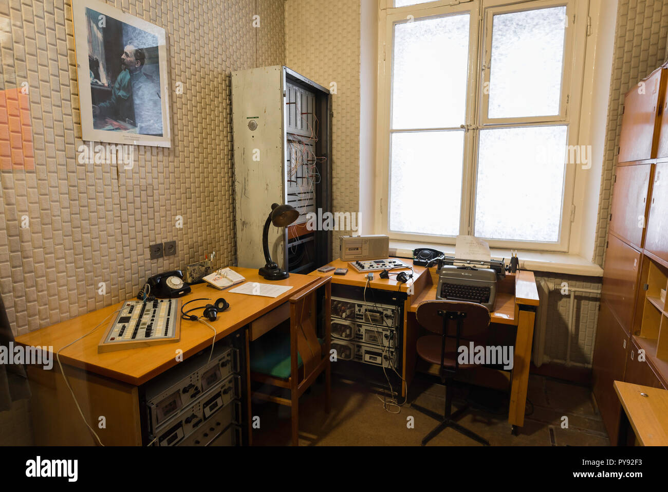 Vilnius Museum of Genocide Victims,view of a room in the museum displaying typical surveillance equipment used by the Soviet authorities in Lithuania. - Stock Image