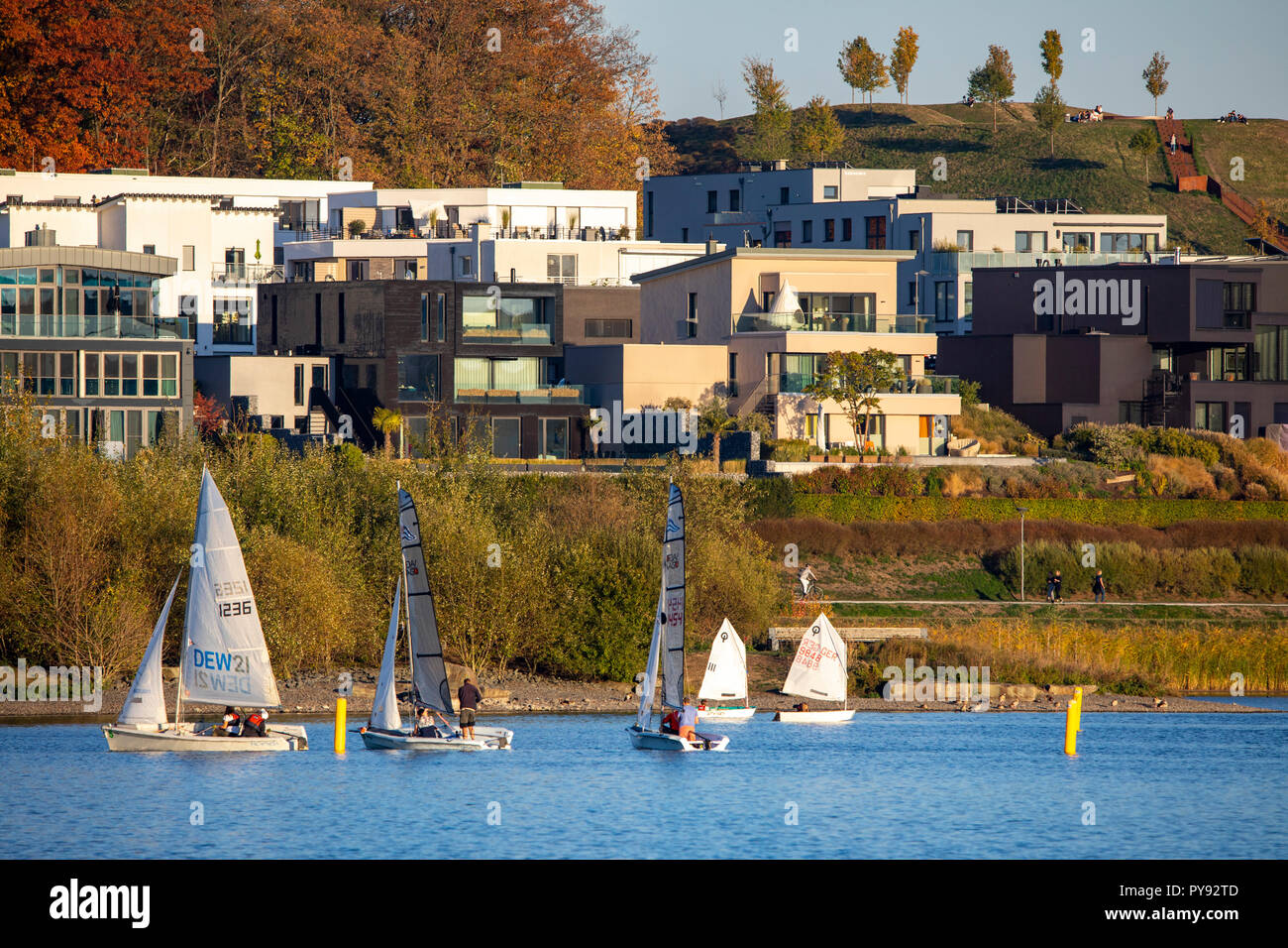 The Phoenix Lake in Dortmund district Hšrde, an artificial lake on the former steel plant Phoenix-East, residential development, recreational area, ga - Stock Image