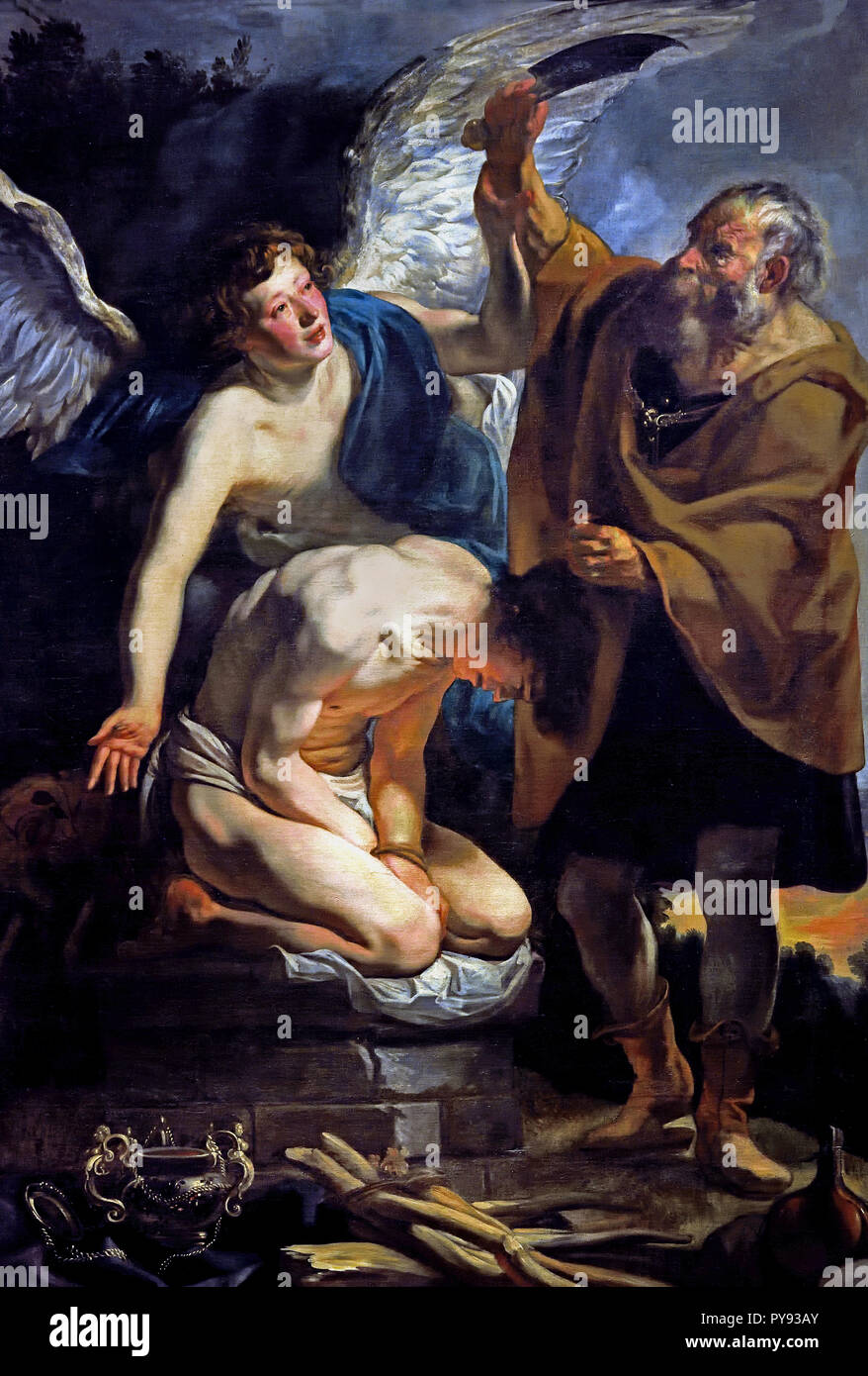 The Sacrifice of Isaac 1625 - 1626  by Jacob JORDAENS 1593 - 1678 Belgium Begian ( God asks Abraham to sacrifice his son, Isaac, on Moriah. Abraham begins to comply, when a messenger from God interrupts him. Abraham then sees a ram and sacrifices it instead. ) Stock Photo