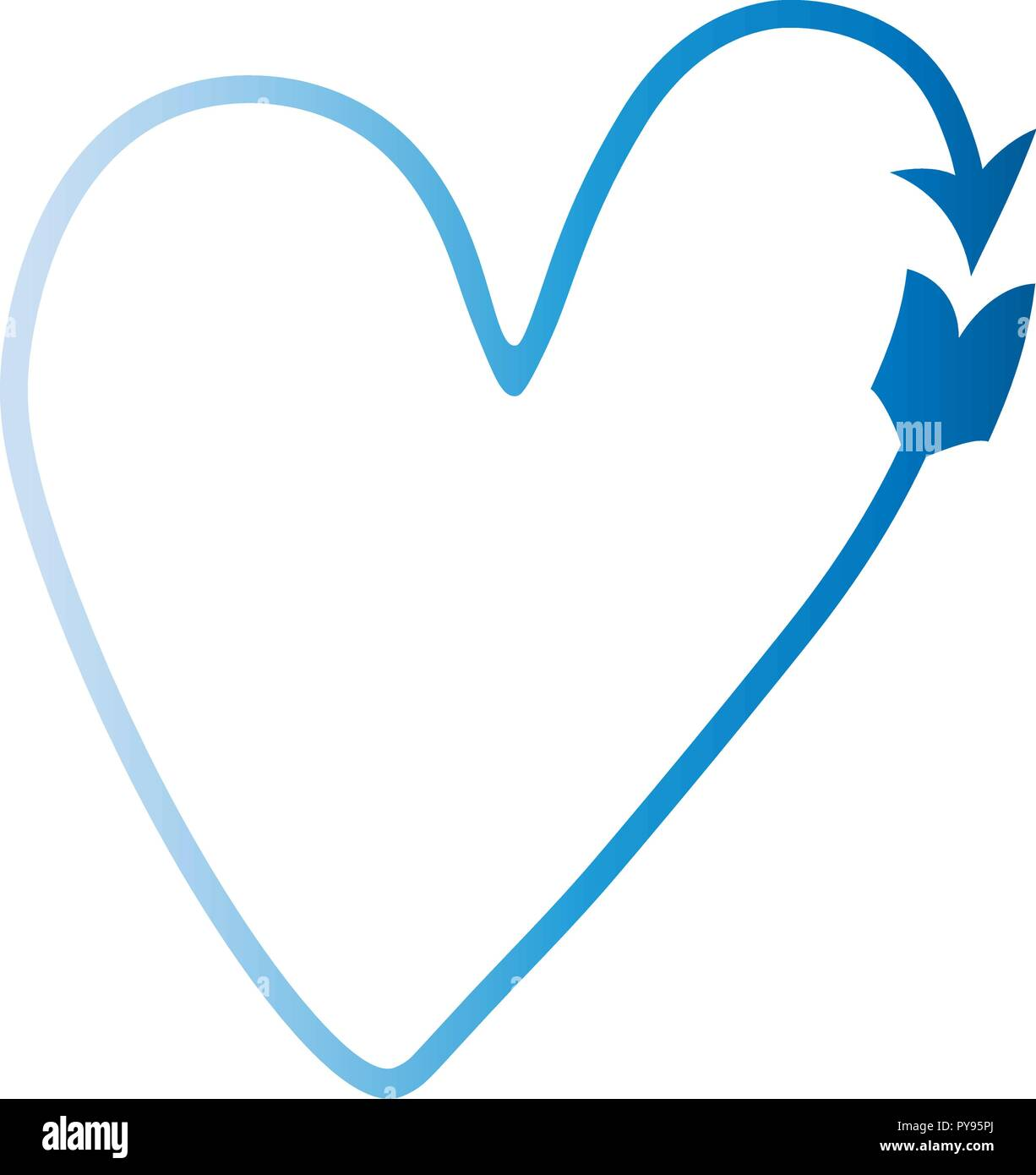 Vector Blue Heart In The Form Of An Arrow Fashionable Gradient