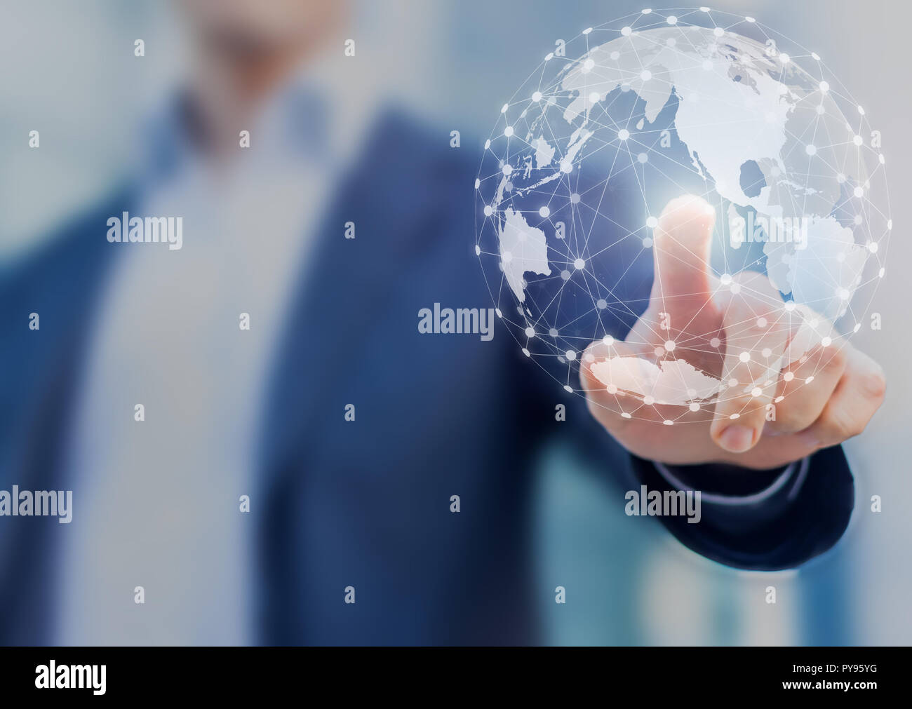 Global network communication with international connections for business around 3d world map, financial exchange, Internet of Things (IoT), blockchain - Stock Image