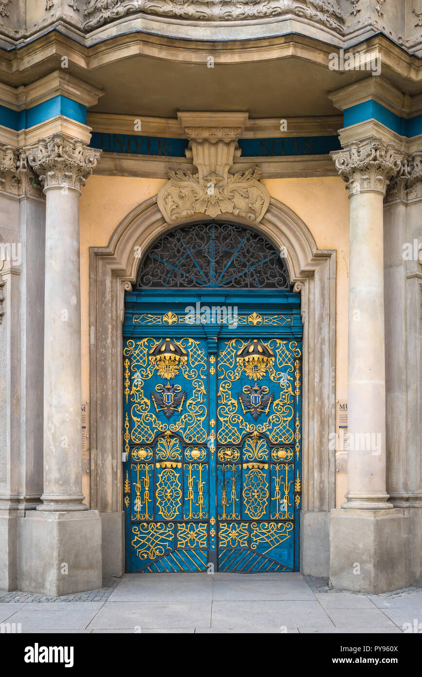 View of the blue and gold rococo door to the University of Wroclaw, Poland. - Stock Image