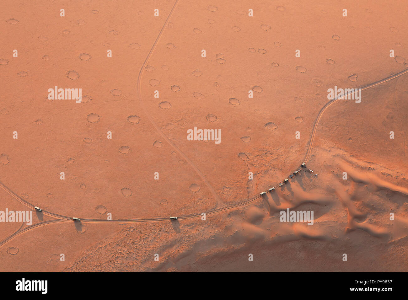 Namibia Fairy Circles seen in the Namib desert from above- cause unknown, namibia desert at Sossusvlei, Namibia Africa - Stock Image