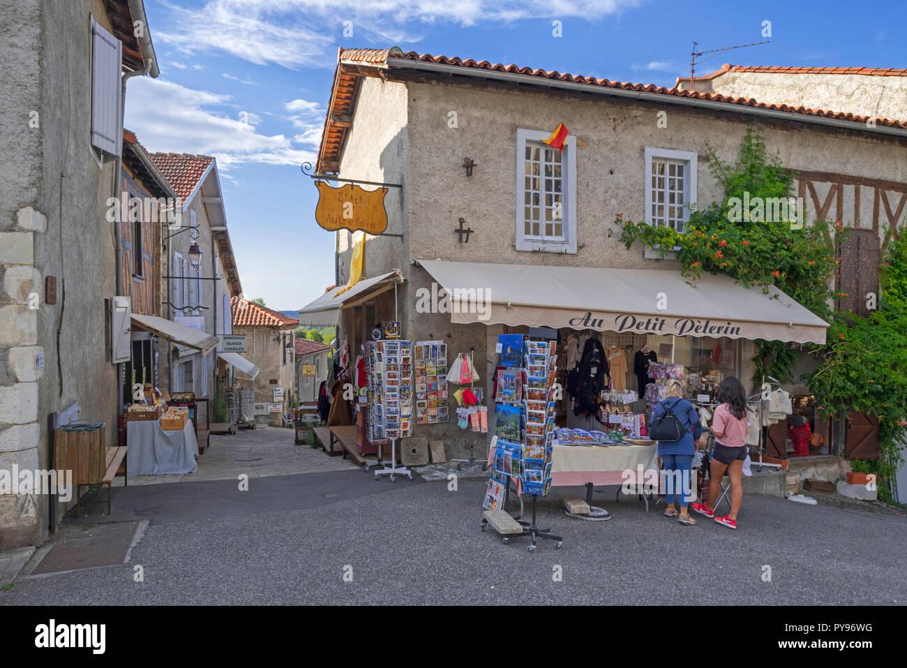 Souvenir shop in the medieval village Saint-Bertrand-de-Comminges, Haute-Garonne, Pyrenees, France - Stock Image