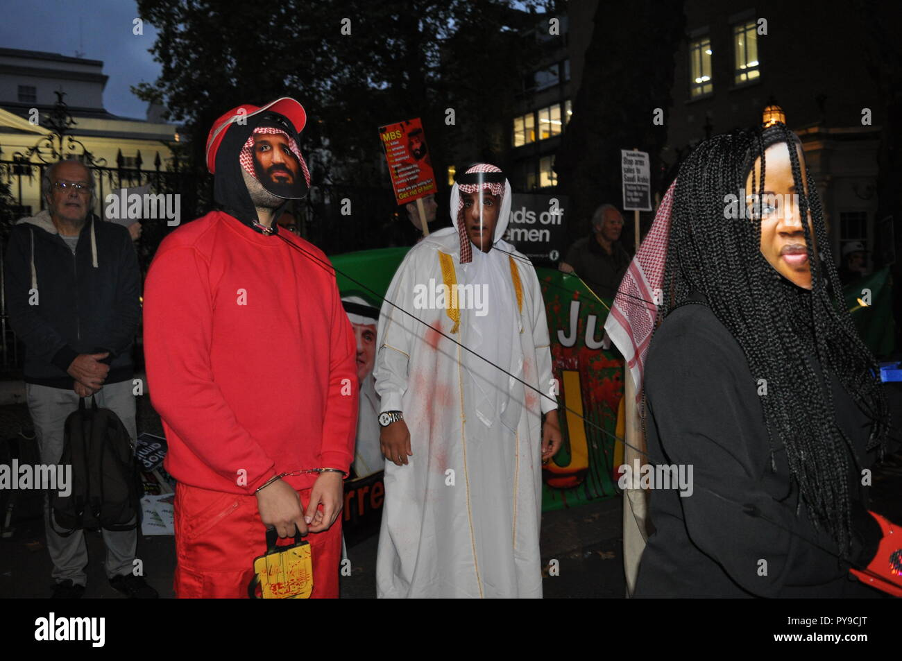 London/UK. 25th October 2018. Demonstration for justice for Jamal Khashoggi a dissident journalist from Saudi Arabia who was murdered in Istanbul. - Stock Image