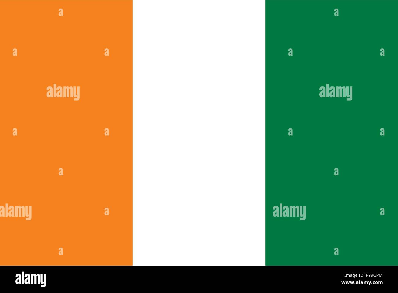 Vector image for Cote d'Ivoire flag. Based on the official and exact Cote d'Ivoire flag dimensions (3:2) & colors (151C, White and 356C) - Stock Vector